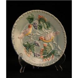 Majolica / Barbotine Plate with Birds #2377565
