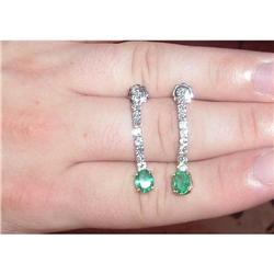 DIAMOND EARRING WITH EMERALD #2377572