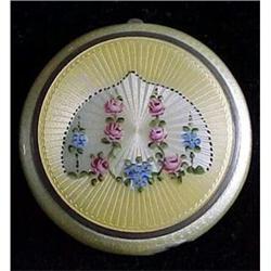 Sterling  floral enamel ladies compact #2377593