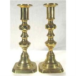 Candlesticks English Victorian  Brass pair #2377949
