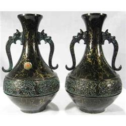 Vases Pair Black on Brass. Not Old #2377954