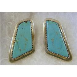 Earings Sterling & Turquoise c2000 Clips #2377961