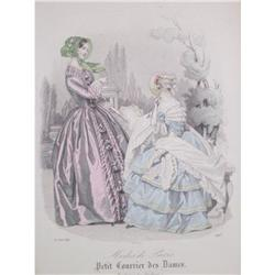 Antique hand colored  fashion print #2377978