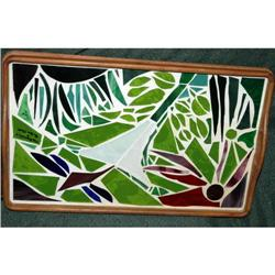 Artist Signed  Glass Inlay in Teak Bed Tray  #2378049