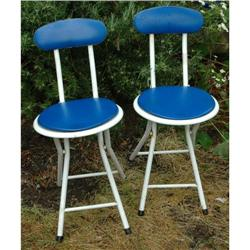 2 Snazzy Folding Metal Vinyl Chairs #2378050