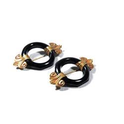 2 Art Deco Black Bakelite & Brass Scatter Pins #2378054