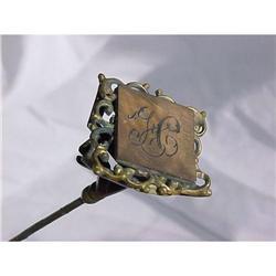 Art Nouveau Hat Pin Monogram Gilt Brass  #2378055