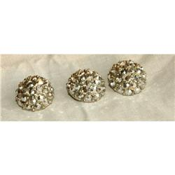 3 Metal Glass Rhinestone Dome Buttons ~make #2378060