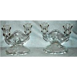 Pair of Etched Jeanet  Glass Dual Candlesticks #2378061