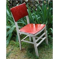 Ferguson Folding Wood Chair Textured Red Vinyl #2378069