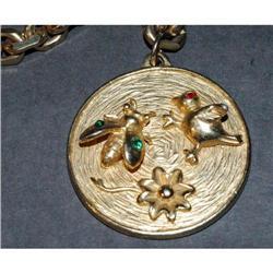 Trifari Bird & Bee Medallion Charm Bracelet  #2378078