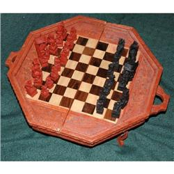 Handcarved Folding Chess Table from Bali  #2378080