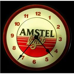 Amstel Lighted Beer Sign Clock -Vintage  #2378083
