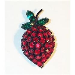 Warner Strawberry Brooch Garnet Color Stones  #2378092