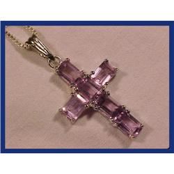 Amethyst & Sterling Crucifix Pendant & Chain #2378094