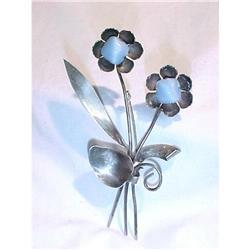 Sterling Flower Pin PearlescentBlue Czech Glass#2378096