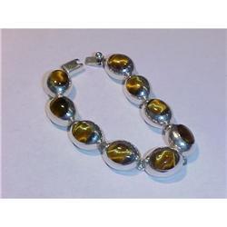 Taxco Sterling Tigereye Links Bracelet #2378097