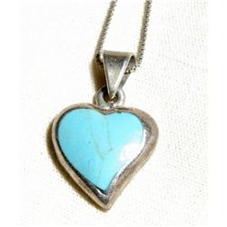 Turquoise and Sterling Silver Heart Pendant #2378115