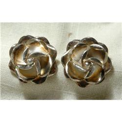 Old Taxco Mexico Sterling Silver Rose Earrings #2378117