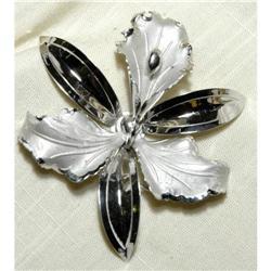 Huge Sterling Silver Orchid Brooch  #2378119