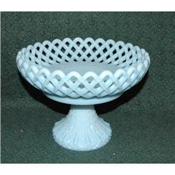 Blue Milkglass Compote Pedestal Fruit Bowl   #2378124