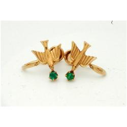 10K Gold Bird Earrings  /vintage screwbacks  #2378132