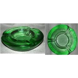 IVV Italian Heavy  Thick Green Glass Ashtry  #2378134