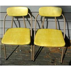 2 Retro Cosco Folding Kitchen Chairs vinyl #2378141