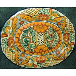 Lovely Old Mexican Oval Talavara Platter- #2378143