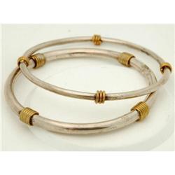 2 Sterling Silver Taxco Mexico Bangle Bracelets#2378144