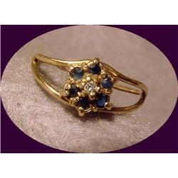Dainty Diamond & Blue Sapphire Yellow Gold Ring#2378145