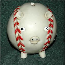 Vintage Hard Plastic Baseball Piggy Bank #2378148