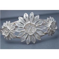 Sterling Silver Filigree Cuff Flower Bracelet #2378151