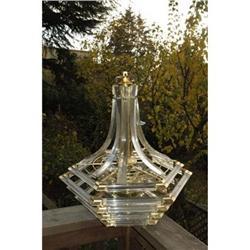 Lucite & Brass Chandelier  #2378160
