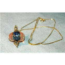 Ornate Glass  Bead & Sterling Vermeil Necklace #2378168