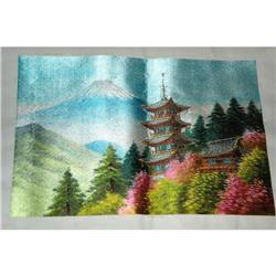 Japanese Silk Picture of Mt Fujii  #2378174