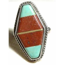 Large Handcraft Silver Turquoise  & Stone Ring #2378197