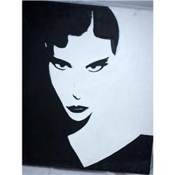 Modern Art Black/White Face Oil unsigned  #2378209