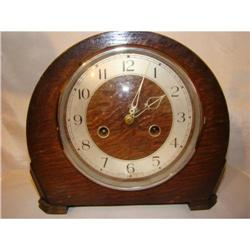 Vintage Smiths Enfield Mantel Clock Oak Case #2378226