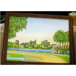 Fifties Art Deco Style Oil Painting of Park #2378278