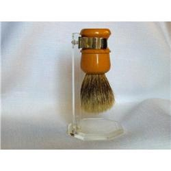 Butterscotch Bakelite Shaving Brush and Stand #2378285