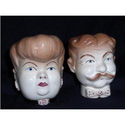 Vintage Man & Woman Head Vases #2378297