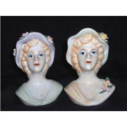 Pair of Lady Head Vases #2378298