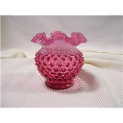 "Fenton Cranberry Opalescent Hobnail  4.5 "" Vase#2378312"