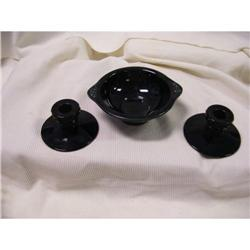 Black Pottery 2 Candle Sticks and Bowl #2378313