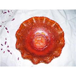 Signed Fenton Bowl- Persion Medallion- Orange -#2378349