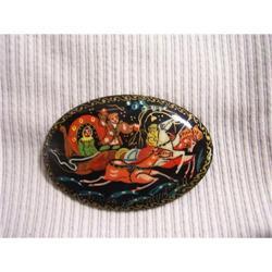 Russian Miniture Art  Black Lacquer  Paper #2378387