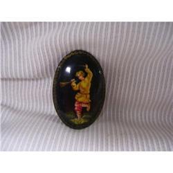 Russian Miniture Art  Black Lacquer  Paper #2378404