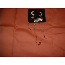 Moon and Stars Necklace and ear ring set #2378460