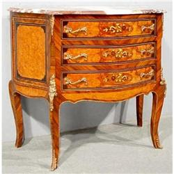 VENETIAN  MARQUETRY CHEST w/ROUGE MARBLE TOP #2392518